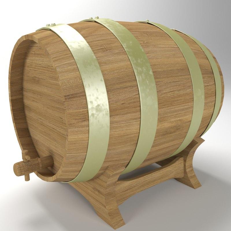 barrel wood wooden 3D model