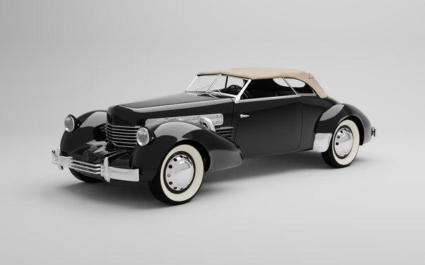 3D 1937 cord 812 phaeton model