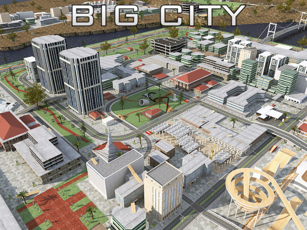 3D big city architecture