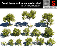 3D small trees bushes 2 model