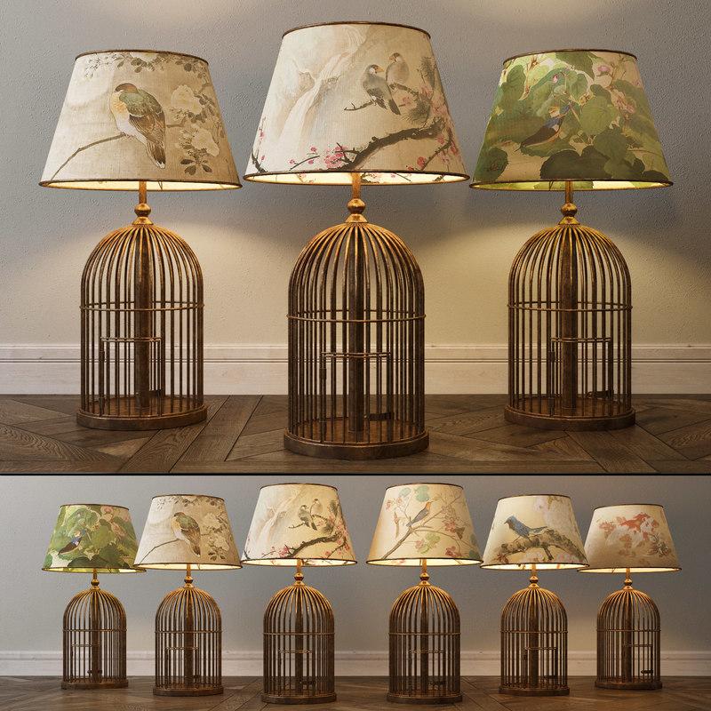 3D model bird cage lamp