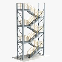 industrial stair 4 stackable 3D