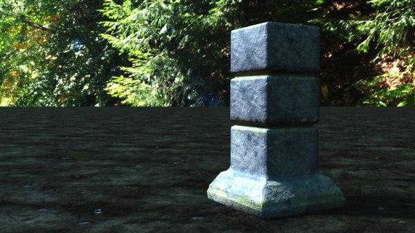small stone pillar 3D model