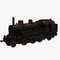 3D old rusty train model