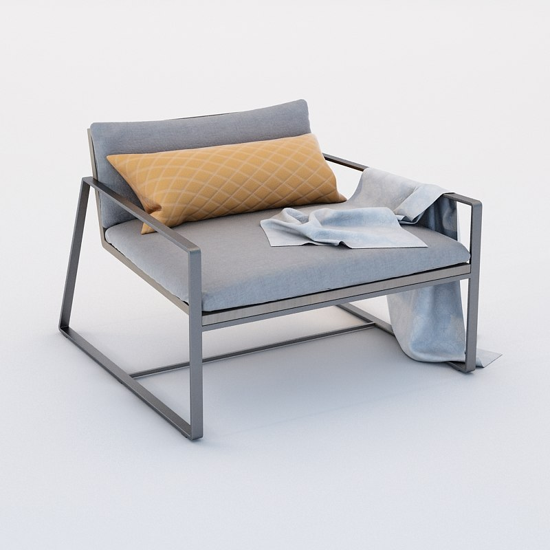 armchair steel gray 3D model