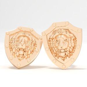 3D model cufflinks lion