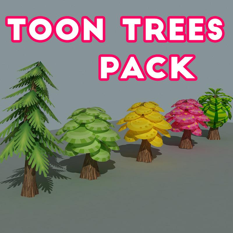 3D model toon trees