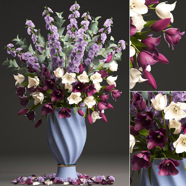 3D bouquet spring flowers tulips