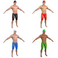 3D model pack swimmer man
