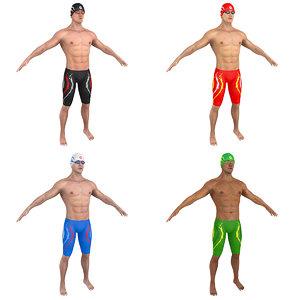 3D model pack swimmer man