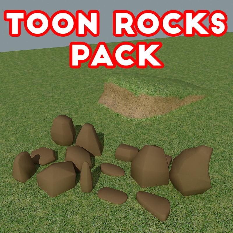 cartoon rock 3D model