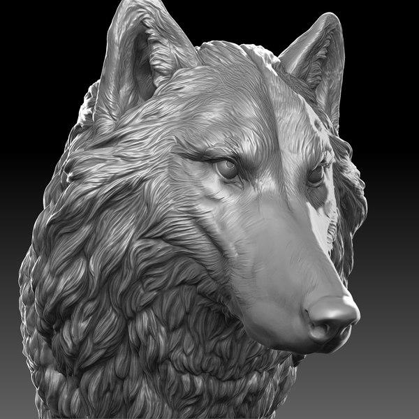 wolf head 3D