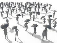 3D model people umbrella crowd