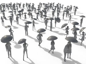 3D model people umbrella crowd