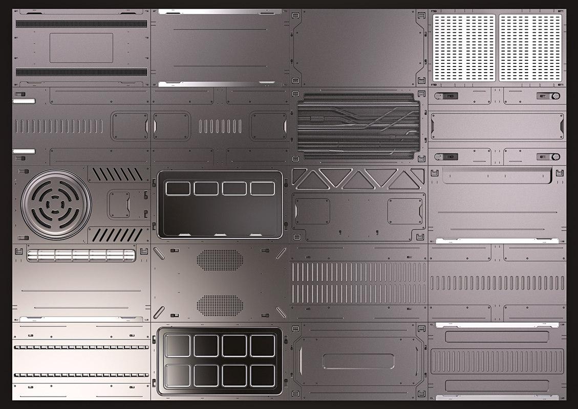 3D model sci fi panels kitbash