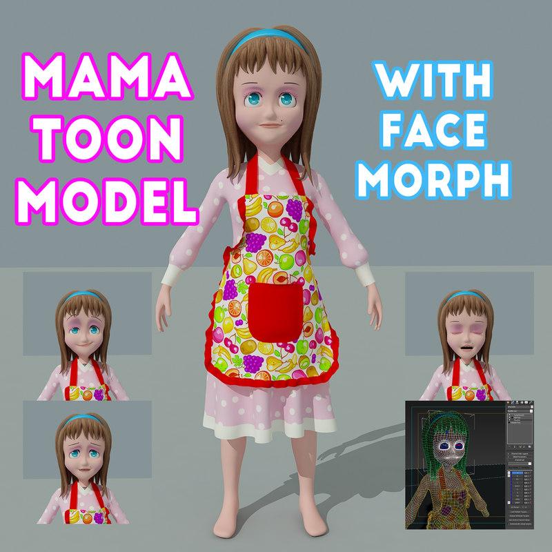 woman character face morph 3D