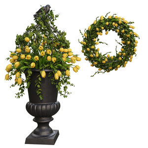vase tulips wreath model