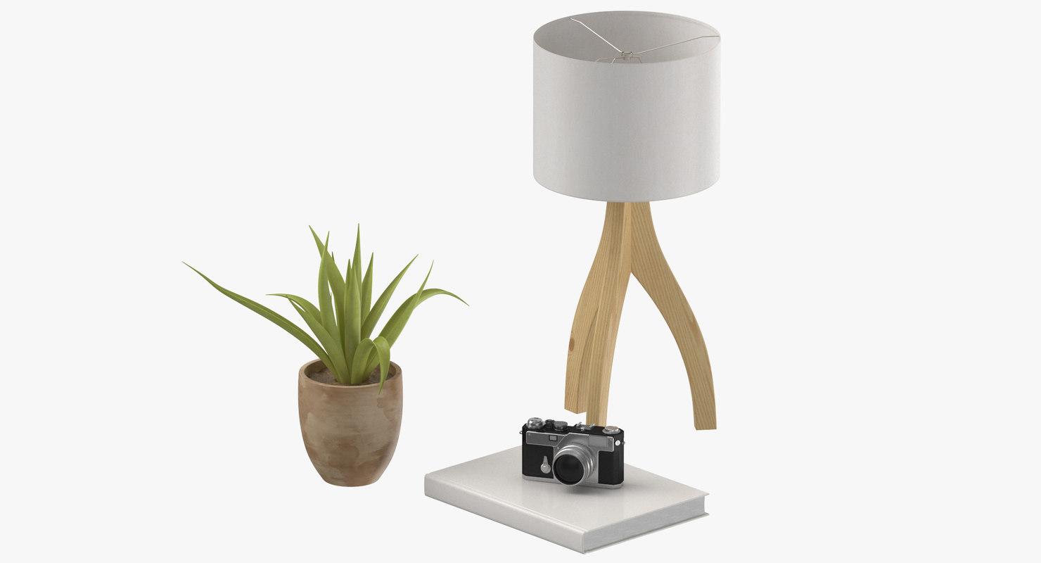 console table decor set 3D model