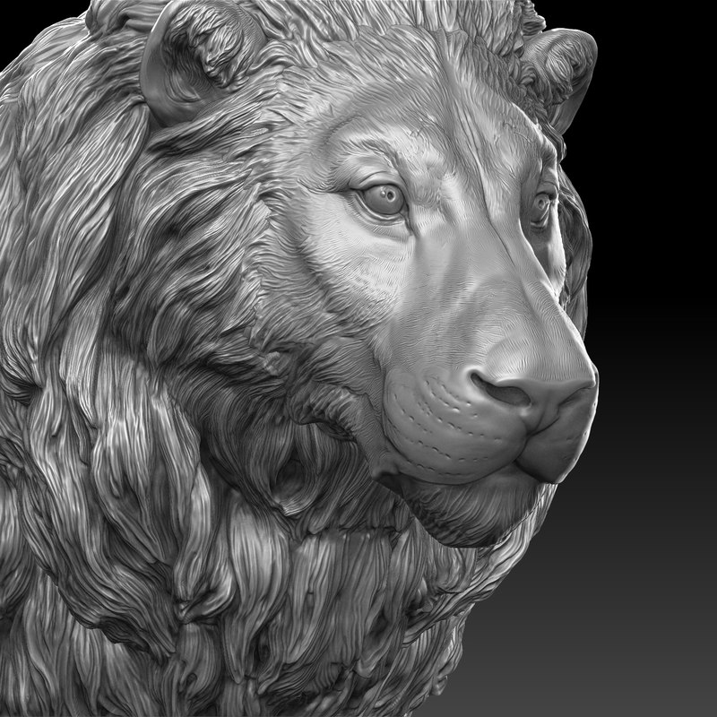 lion head realistic 3D model