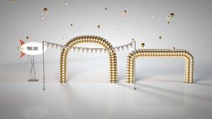 3D balloon arch zeplin model