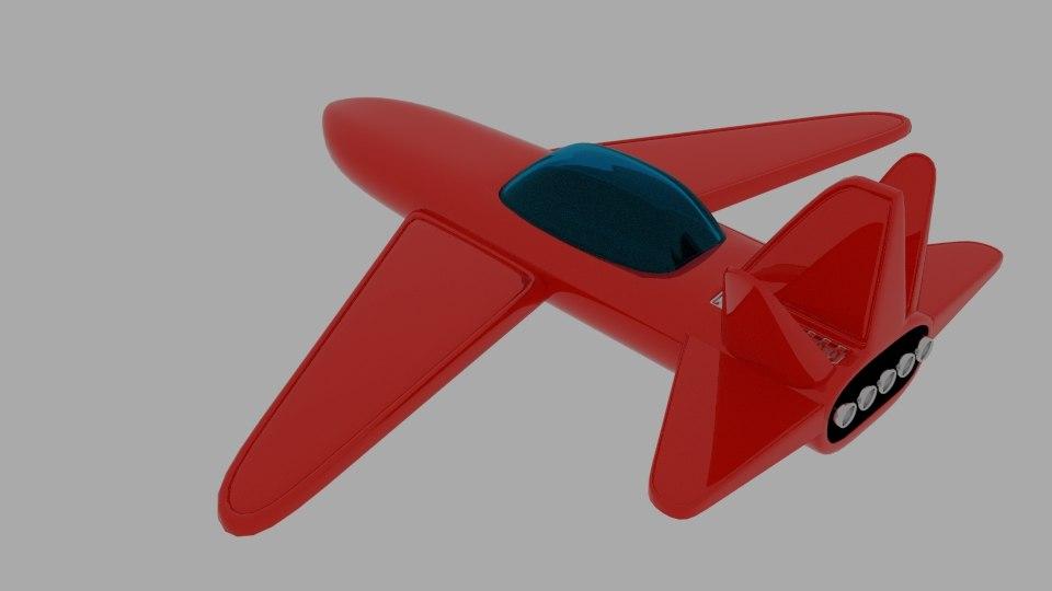 red sligun space ship 3D