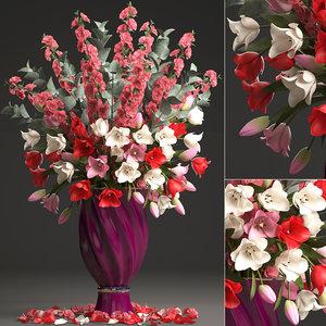 bouquet spring flowers tulips 3D model