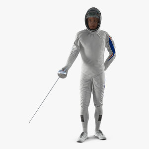 olympic men fencer rigged 3D model