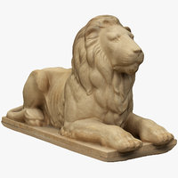 3D model lying lion statue
