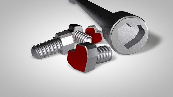 heart screws 3D model