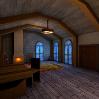 living medieval room interior 3D