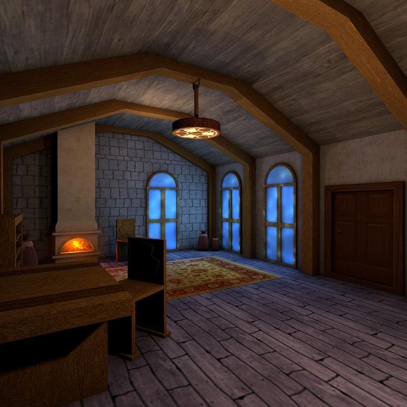 living medieval room interior 3D