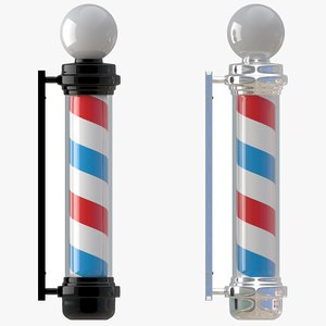 barber shop pole white 3D model