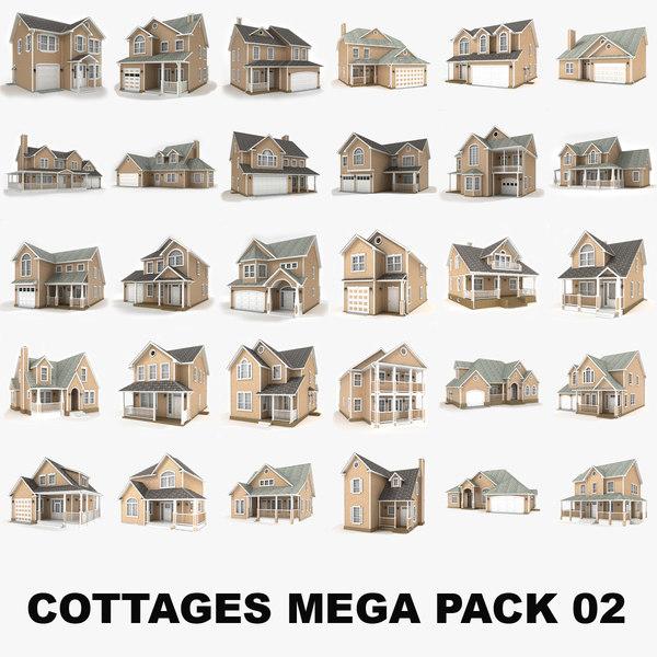 hi-poly cottages mega pack 3D