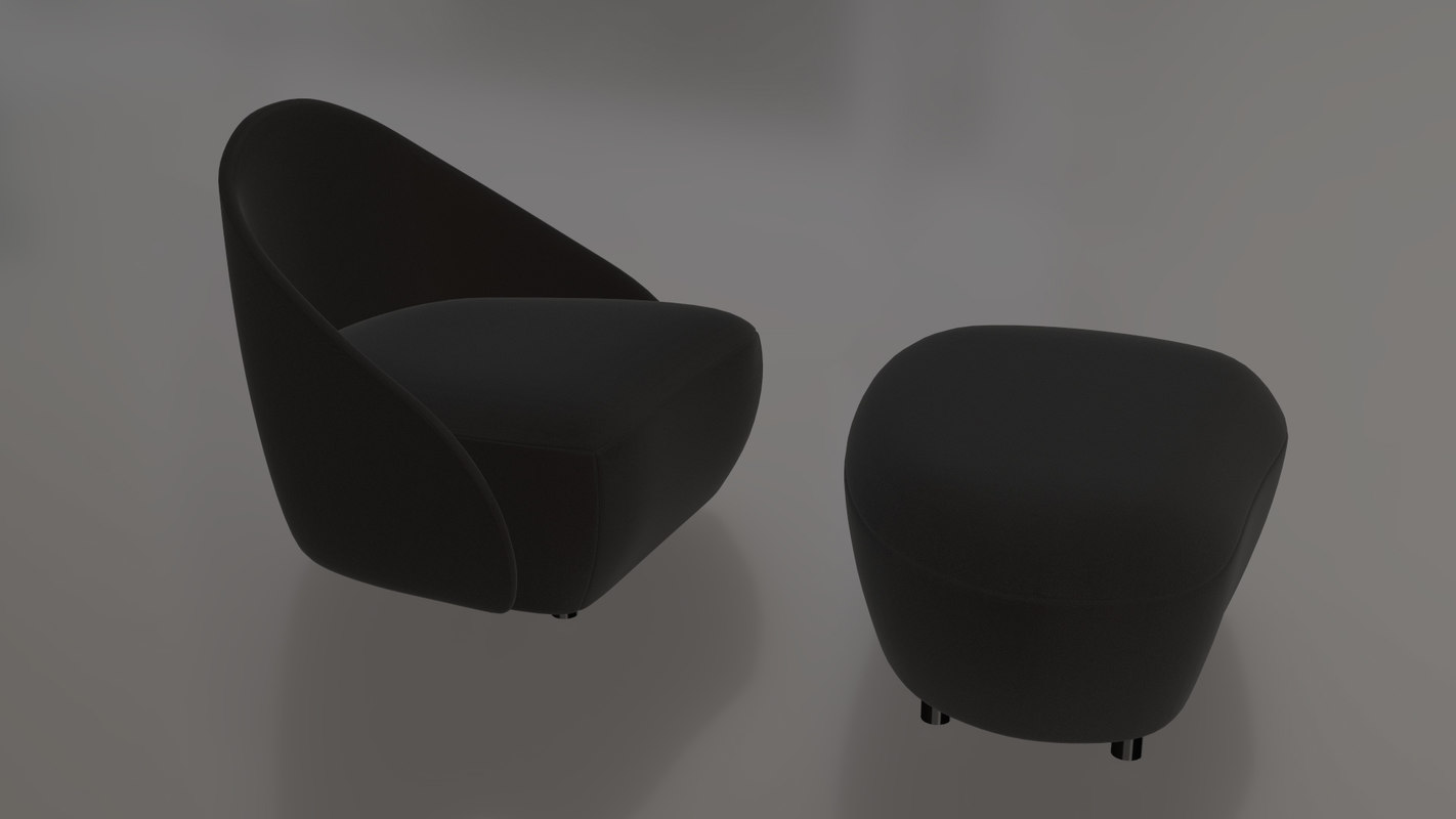 3D furniture pierre chair ottoman
