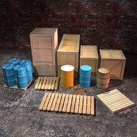 crates barrels 3D