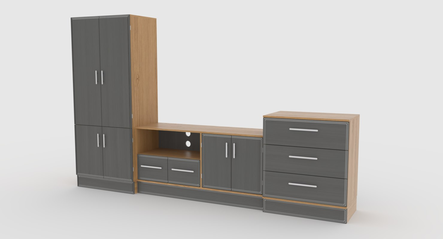 tv stand 59 3D model