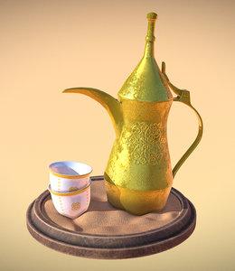 3D arabic coffee dallah finjan