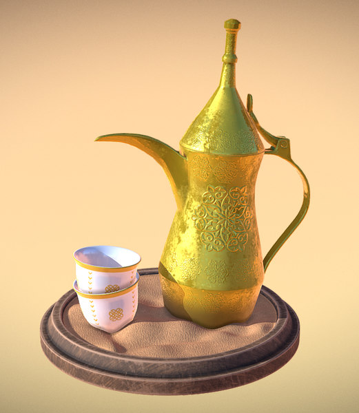 3D arabic coffee dallah finjan