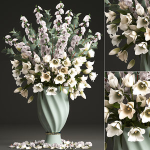 bouquet spring flowers tulips 3D