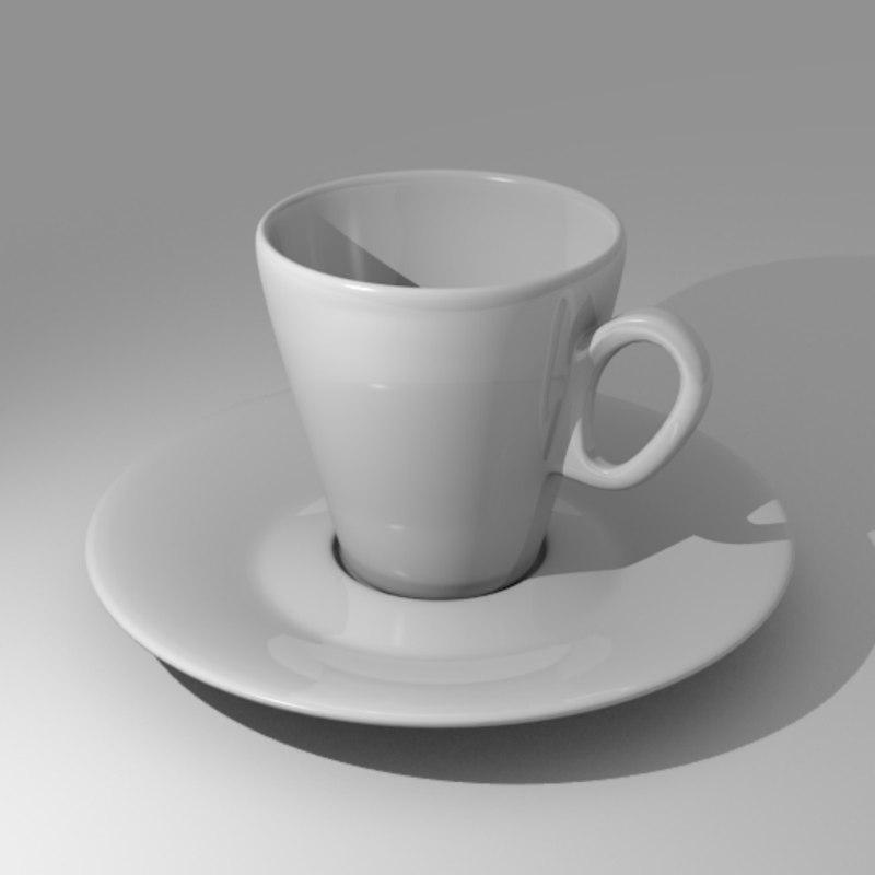 3D model espresso cup saucer