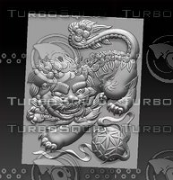 bas-relief foo dog 3D