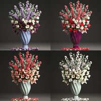Collection of bouquets of spring flowers