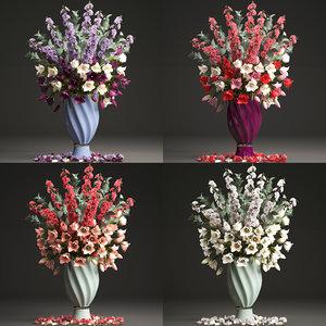 3D bouquets spring flowers vase