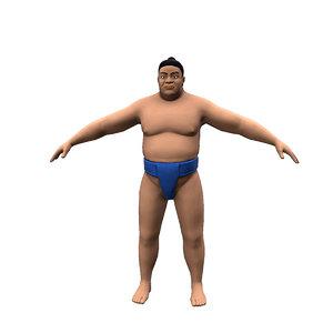 sumo wrestler character 3D model