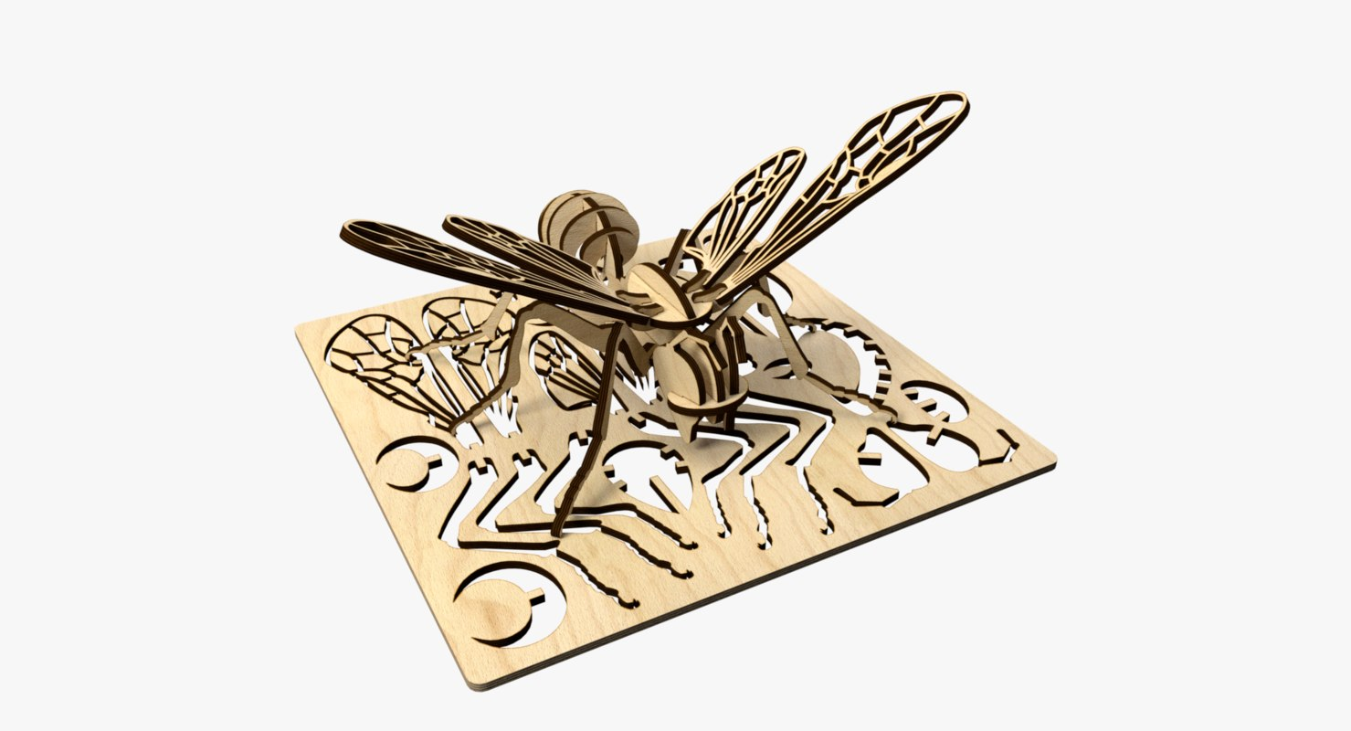 3D bee laser cut puzzle model