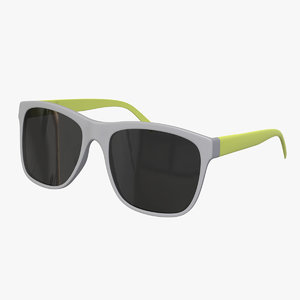 3D yellow sunglasses model