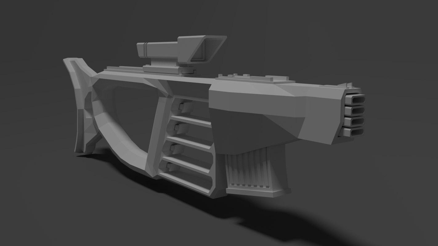 sci fi gun 3D