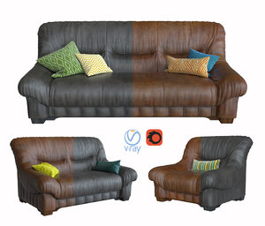 sofa armchair vintage leather furniture 3D model