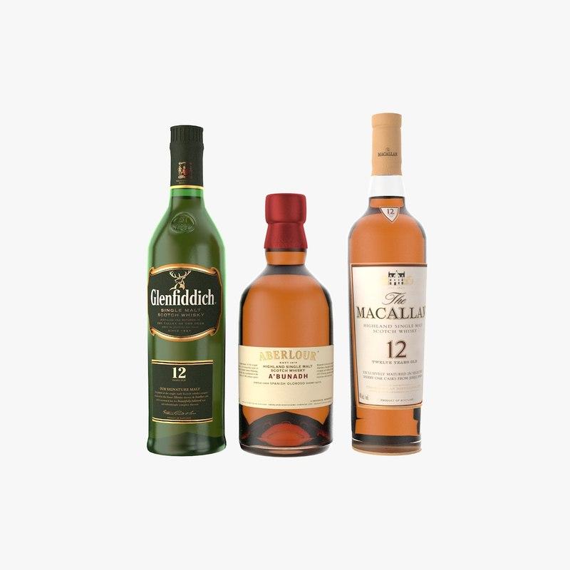3D single malt whiskey bottle model