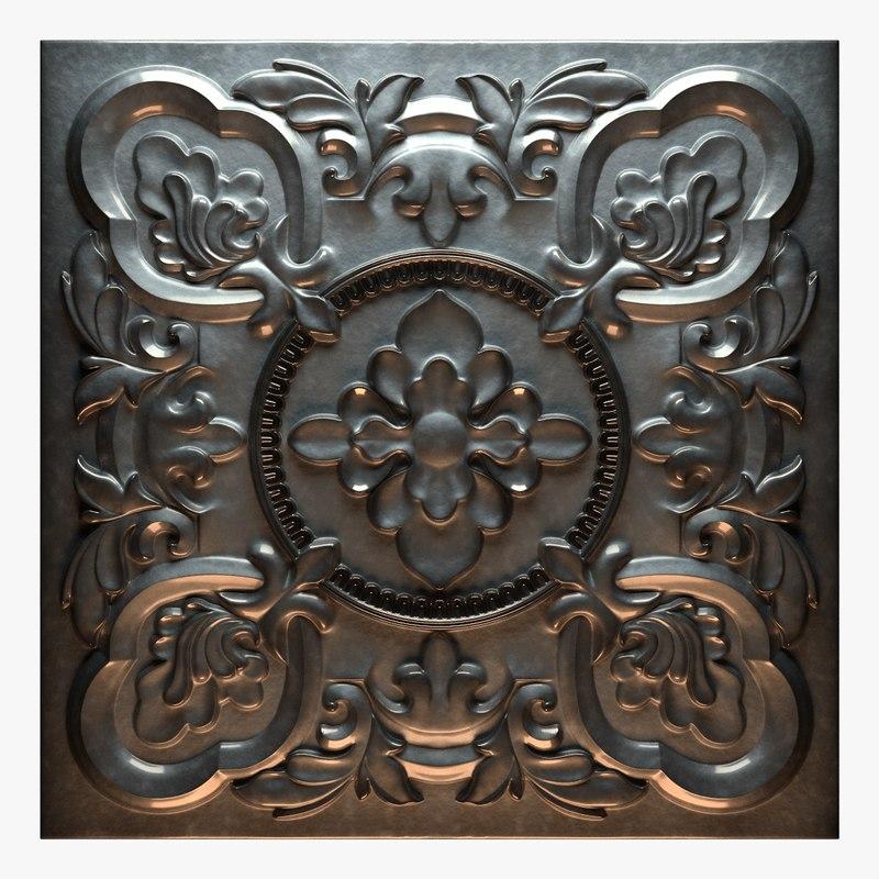 3D old tin tiles model
